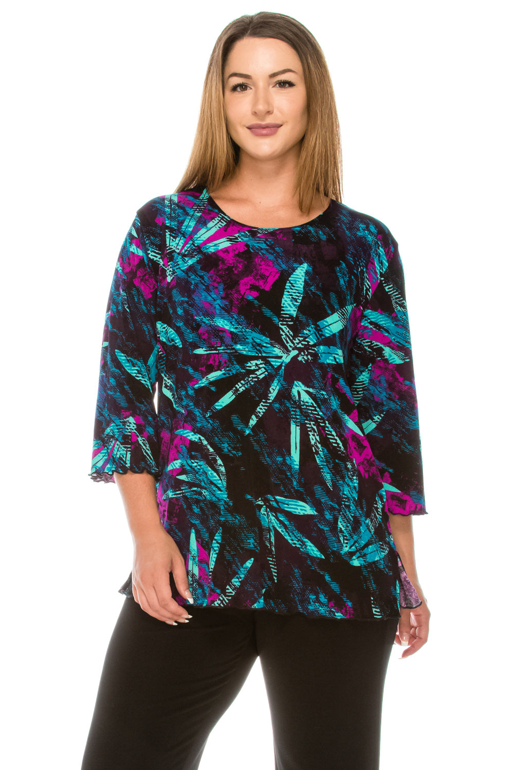 Jostar Women's Stretchy Merrow Top 3/4 Sleeve Print Plus, 158BN-QXP-W101 - Jostar Online