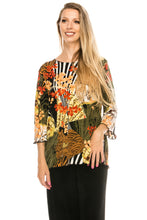 Load image into Gallery viewer, Jostar Women's Stretchy Merrow Top 3/4 Sleeve Print Plus, 158BN-QXP-W168 - Jostar Online