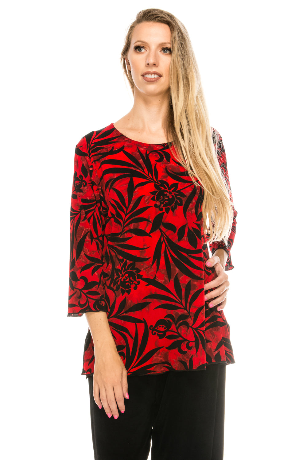 Jostar Women's Stretchy Merrow Top 3/4 Sleeve Print Plus, 158BN-QXP-W173 - Jostar Online
