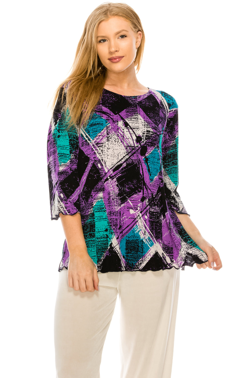 Jostar Women's Stretchy Merrow Top 3/4 Sleeve Print Plus, 158BN-QXP-W180 - Jostar Online