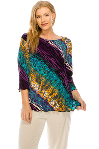 Jostar Women's Stretchy Merrow Top 3/4 Sleeve Print Plus, 158BN-QXP-W182 - Jostar Online