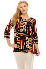 Load image into Gallery viewer, Jostar Women's Stretchy Merrow Top 3/4 Sleeve Print Plus, 158BN-QXP-W186 - Jostar Online
