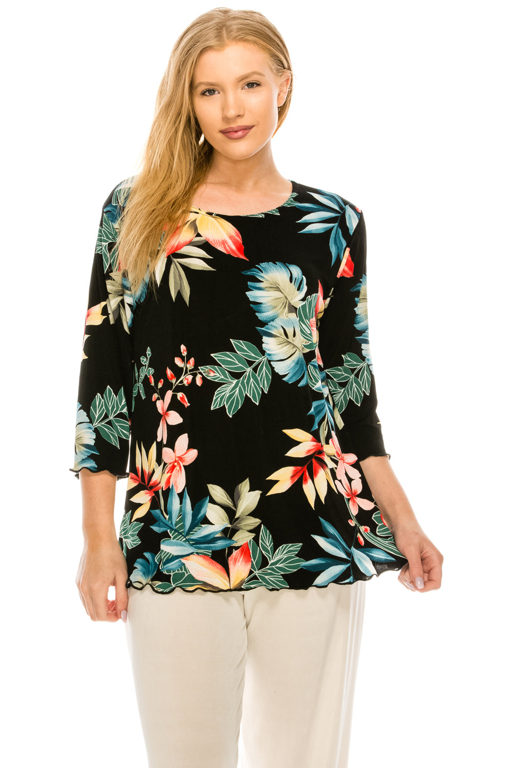 Jostar Women's Stretchy Merrow Top 3/4 Sleeve Print Plus, 158BN-QXP-W189 - Jostar Online