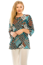 Load image into Gallery viewer, Jostar Women's Stretchy Merrow Top 3/4 Sleeve Print Plus, 158BN-QXP-W190 - Jostar Online