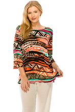 Load image into Gallery viewer, Jostar Women's Stretchy Merrow Top 3/4 Sleeve Print Plus, 158BN-QXP-W194 - Jostar Online