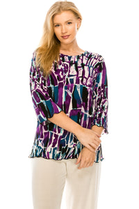 Jostar Women's Stretchy Merrow Top 3/4 Sleeve Print Plus, 158BN-QXP-W195 - Jostar Online