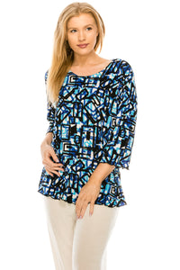 Jostar Women's Stretchy Merrow Top 3/4 Sleeve Print Plus, 158BN-QXP-W196 - Jostar Online