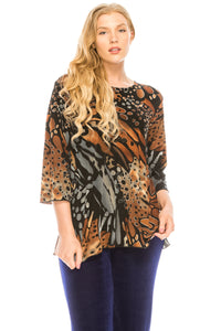 Jostar Women's Stretchy Merrow Top 3/4 Sleeve Print Plus, 158BN-QXP-W207 - Jostar Online