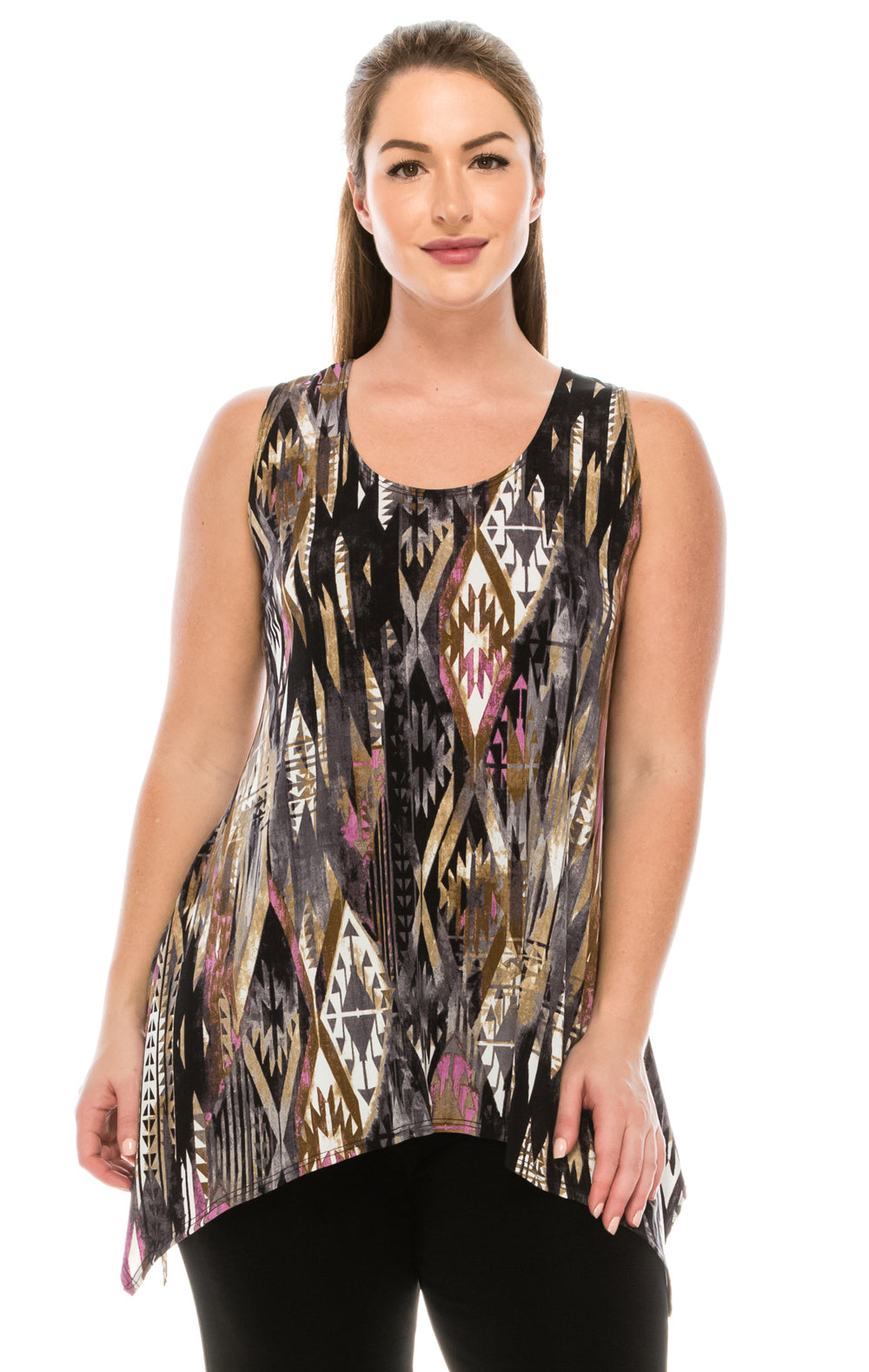 Jostar Women's HIT Side Drop Tank Tunic Print-230HT-TRP1-W126 - Jostar Online