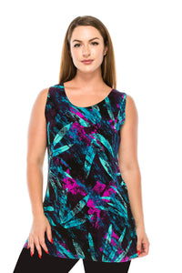 Jostar Women's Stretchy Vented Tunic Tank Top Sleeveless Print, 241BN-TP-W101 - Jostar Online
