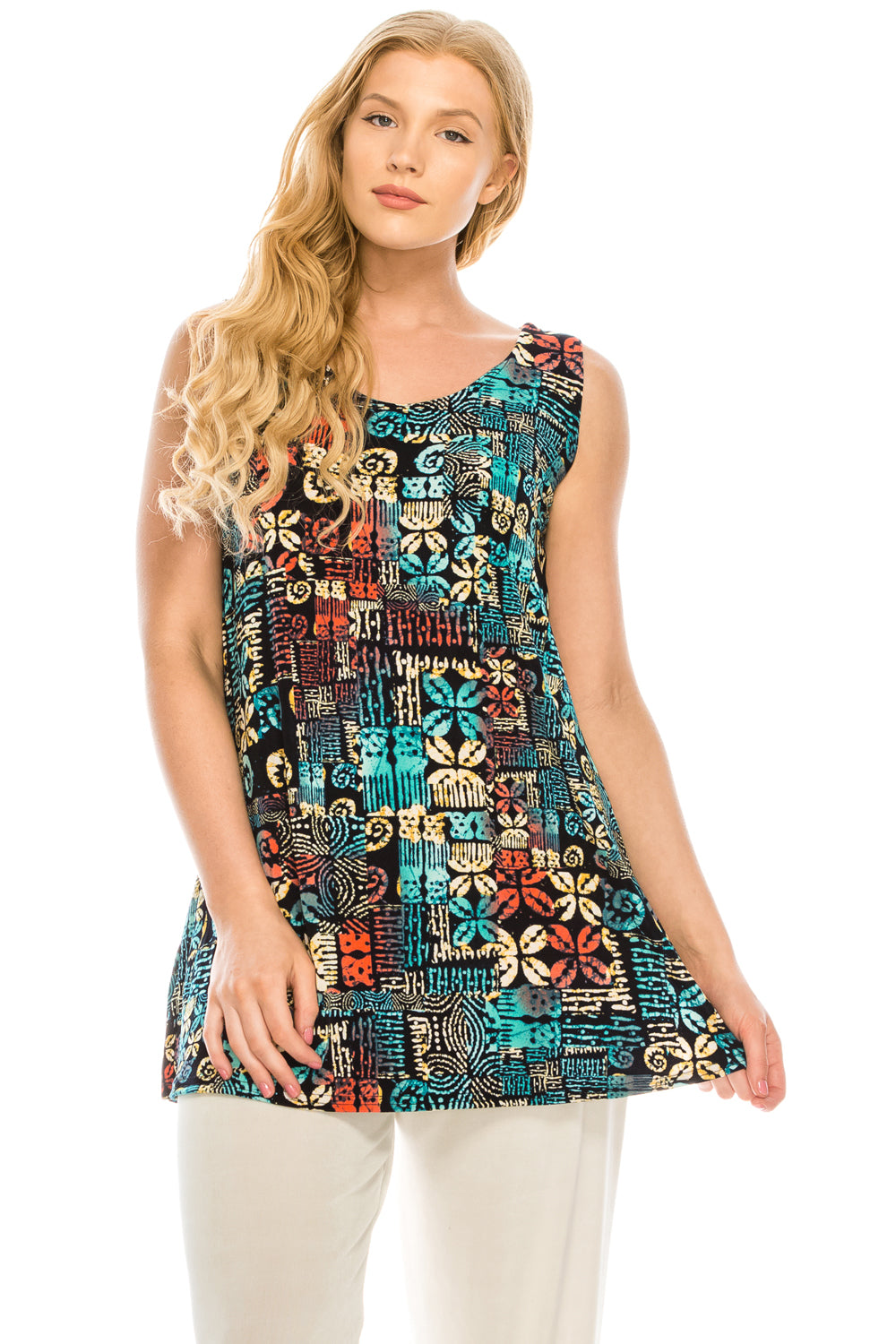 Jostar Women's Stretchy Vented Tunic Tank Top Sleeveless Print, 241BN-TP-W167 - Jostar Online