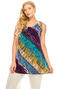 Jostar Women's Stretchy Vented Tunic Tank Top Sleeveless Print-241BN-TRP1-W182 - Jostar Online