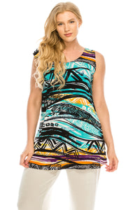 Jostar Women's Stretchy Vented Tunic Tank Top Sleeveless Print, 241BN-TP-W194 - Jostar Online