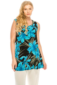 Jostar Women's Stretchy Vented Tunic Tank Top Sleeveless Print-241BN-TRP1-W683 - Jostar Online