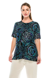 Jostar Women's Stretchy Vented Top Short Sleeve Printed, 242BN-SP-W014 - Jostar Online