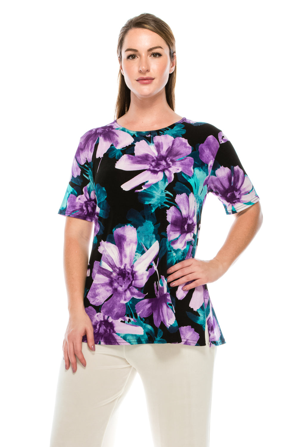 Jostar Women's Stretchy Vented Top Short Sleeve Printed, 242BN-SP-W050 - Jostar Online