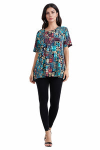 Jostar Women's Stretchy Vented Top Short Sleeve Printed, 242BN-SP-W167 - Jostar Online