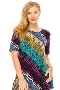 Jostar Women's Stretchy Vented Top Short Sleeve Printed, 242BN-SP-W182 - Jostar Online