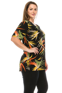 Jostar Women's Stretchy Vented Tunic Top Short Sleeve Plus, 242BN-SXP-W679 - Jostar Online