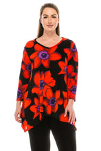 Load image into Gallery viewer, Jostar Women's Stretchy V-Neck Binding Top 3/4 Sleeve Print, 313BN-QP-W075 - Jostar Online