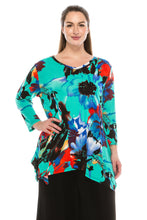 Load image into Gallery viewer, Jostar Women's Stretchy V-Neck Binding Top 3/4 Sleeve Print, 313BN-QP-W081 - Jostar Online