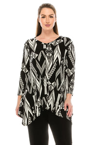 Jostar Women's Stretchy V-Neck Binding Top 3/4 Sleeve Print, 313BN-QP-W116 - Jostar Online