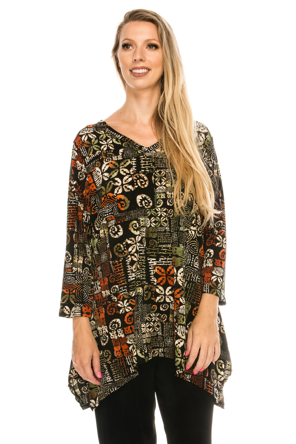 Jostar Women's Stretchy V-Neck Binding Top 3/4 Sleeve Print, 313BN-QP-W167 - Jostar Online