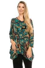 Load image into Gallery viewer, Jostar Women's Stretchy V-Neck Binding Top 3/4 Sleeve Print, 313BN-QP-W167 - Jostar Online