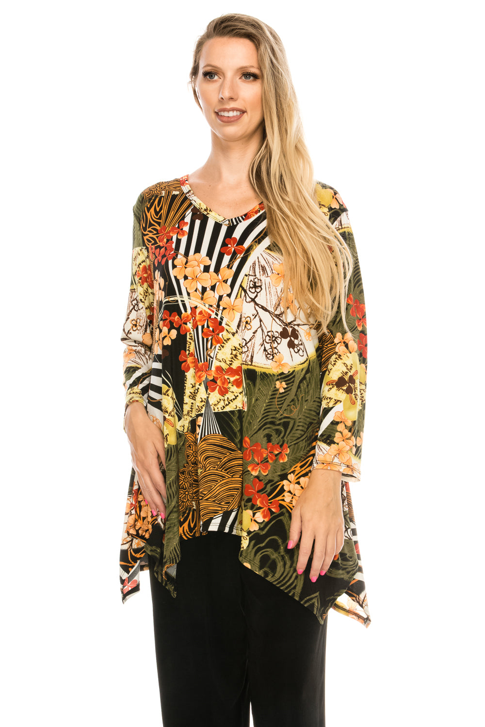 Jostar Women's Stretchy V-Neck Binding Top 3/4 Sleeve Print, 313BN-QP-W168 - Jostar Online