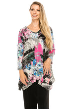 Load image into Gallery viewer, Jostar Women's Stretchy V-Neck Binding Top 3/4 Sleeve Print, 313BN-QP-W169 - Jostar Online