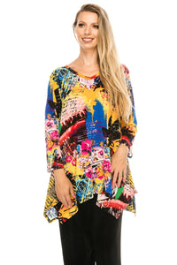 Jostar Women's Stretchy V-Neck Binding Top 3/4 Sleeve Print, 313BN-QP-W169 - Jostar Online