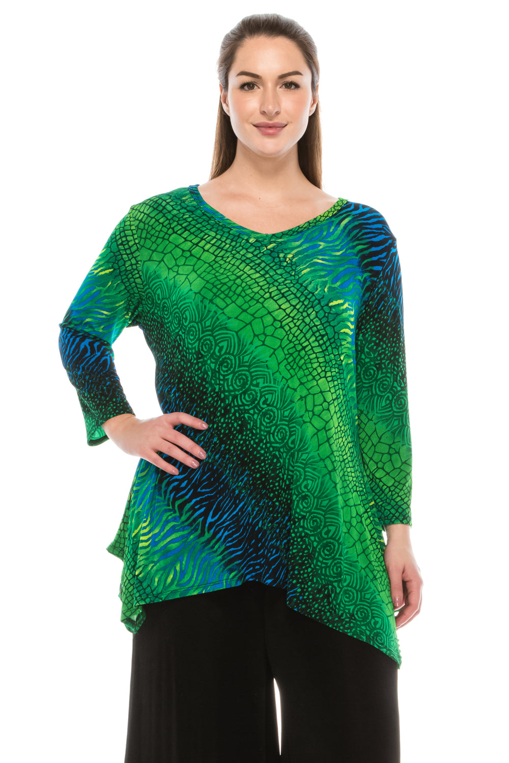 Jostar Women's Stretchy V-Neck Binding Top 3/4 Sleeve Print, 313BN-QP-W182 - Jostar Online
