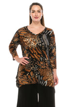 Load image into Gallery viewer, Jostar Women's Stretchy V-Neck Binding Top 3/4 Sleeve Print, 313BN-QP-W207 - Jostar Online