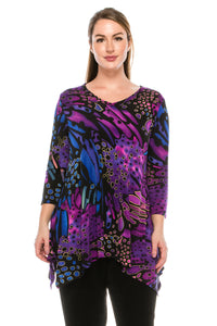 Jostar Women's Stretchy V-Neck Binding Top 3/4 Sleeve Print, 313BN-QP-W207 - Jostar Online