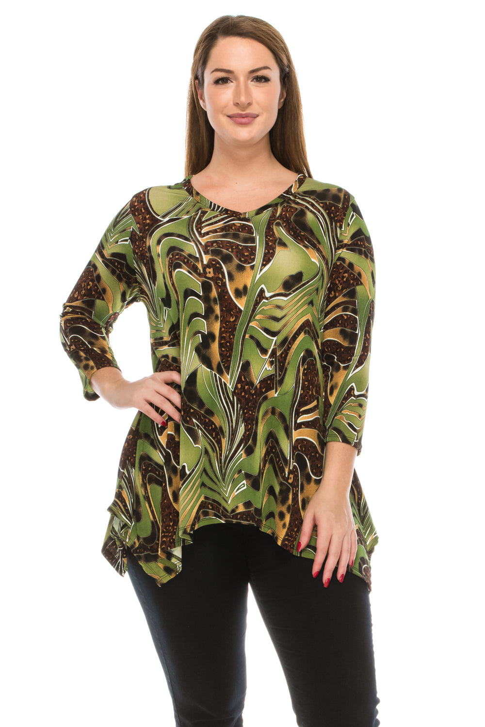 Jostar Women's Stretchy V-Neck Binding Top 3/4 Sleeve Print, 313BN-QP-W984 - Jostar Online