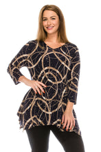 Load image into Gallery viewer, Jostar Women's Glitter V-Neck Binding Top 3/4 Sleeve Print Plus, 313GL-QXP-G008 - Jostar Online