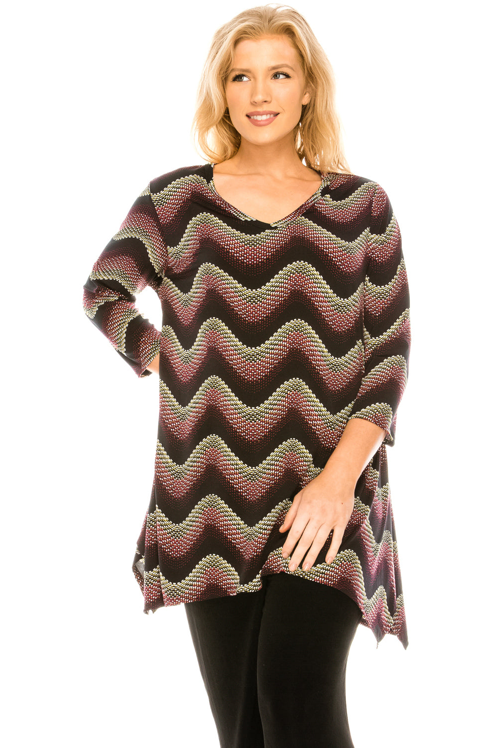 Jostar Women's HIT V-Neck Binding Top Half Sleeve Print, 313HT-QP-W119 - Jostar Online