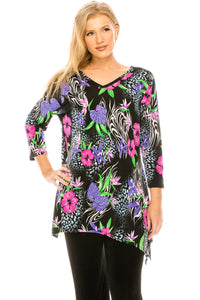 Jostar Women's HIT V-Neck Binding Top Half Sleeve Print, 313HT-QP-W932 - Jostar Online