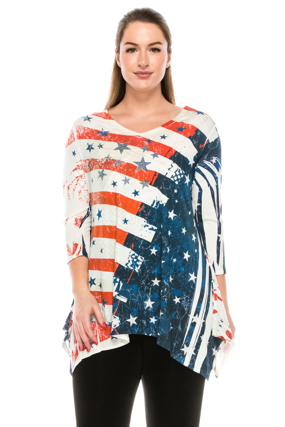 Jostar Women's HIT V-Neck Binding Top 3/4 Sleeve Sublimation Rhinestones, 313HT-QU-R-U162 - Jostar Online