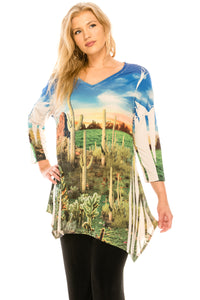 Jostar Women's HIT V-Neck Binding Top 3/4 Sleeve Sublimation Rhinestones, 313HT-QU-R-U170 - Jostar Online