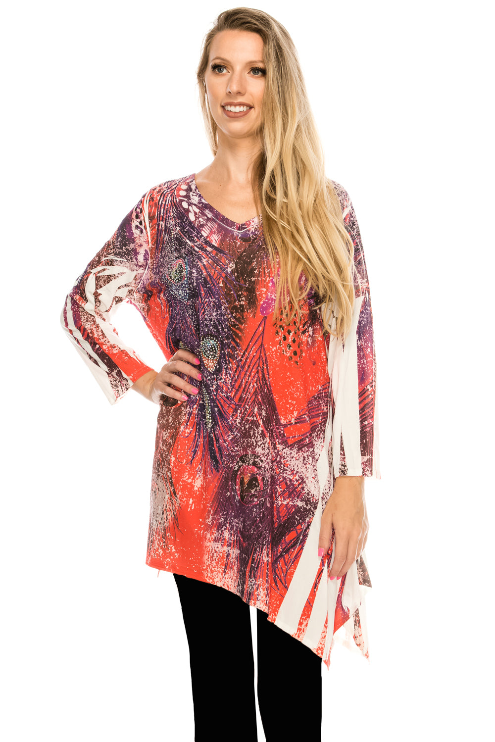 Jostar Women's HIT V-Neck Binding Top 3/4 Sleeve Sublimation Rhinestones, 313HT-QU-R-U171 - Jostar Online
