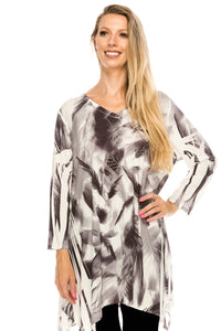 Jostar Women's HIT V-Neck Binding Top 3/4 Sleeve Sublimation Rhinestones, 313HT-QU-R-U177 - Jostar Online