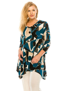 Jostar Women's HIT V-Neck Binding Top Half Sleeve Plus Printed, 313HT-QXP-W162