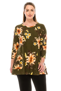 Jostar Women's HIT Bottom Layered Top 3/4 Sleeve Print, 326HT-QP-W089 - Jostar Online