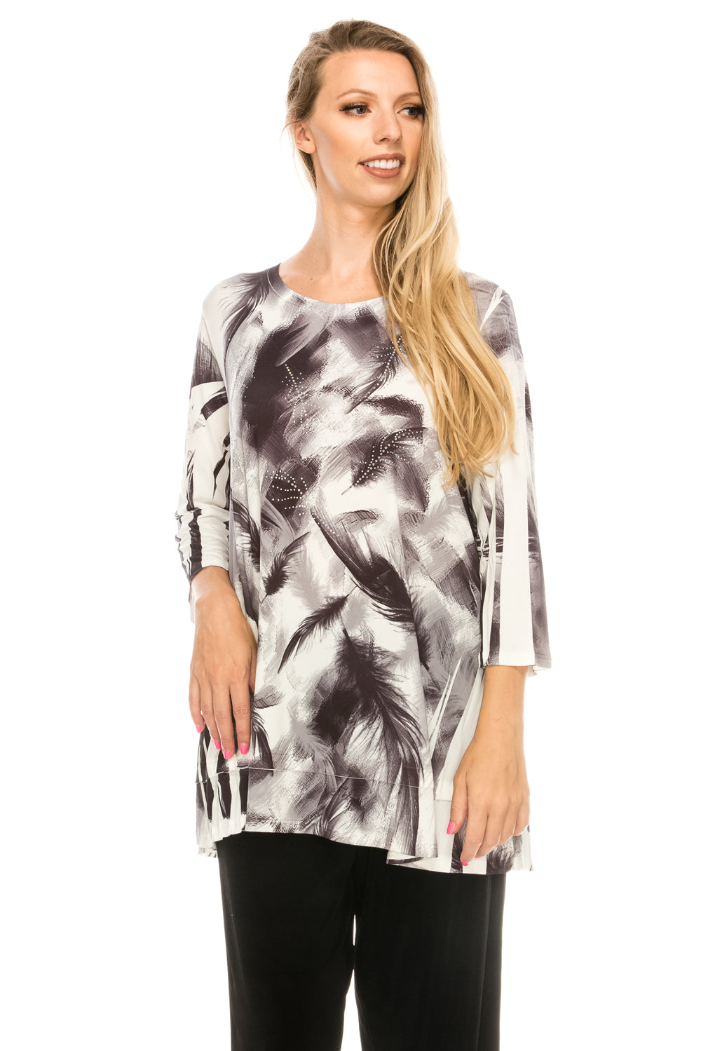 Jostar Women's Slub HIT Bottom Layered Top 3/4 Sleeve Sublimation Rhinestone, 326HT-QU-R-U177 - Jostar Online