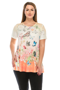 Jostar Women's HIT Slub Bottom Layered Top Short Sleeve Sublimation Rhinestone, 326HT-SU-R-U134 - Jostar Online