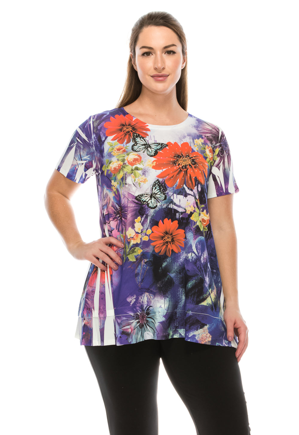 Jostar Women's HIT Slub Bottom Layered Top Short Sleeve Sublimation Rhinestone, 326HT-SU-R-U145 - Jostar Online