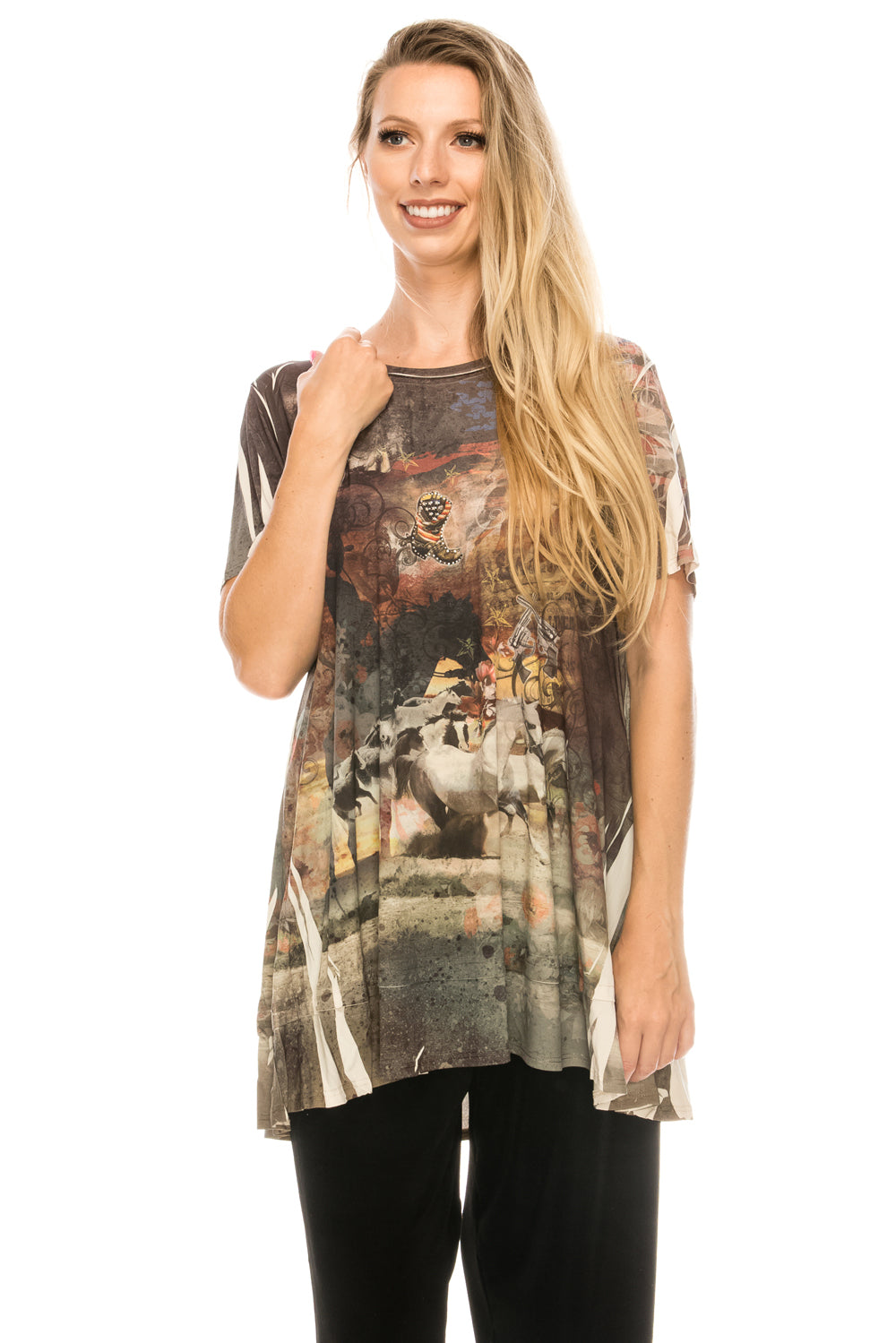 Jostar Women's HIT Slub Bottom Layered Top Short Sleeve Sublimation Rhinestone, 326HT-SU-R-U172 - Jostar Online
