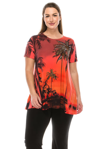 Jostar Women's HIT Slub Bottom Layered Top Short Sleeve Sublimation Rhinestone, 326HT-SU-R-U714 - Jostar Online