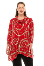 Load image into Gallery viewer, Jostar Women's Glitter Cowl Neck Top 3/4 Sleeve Printed, 334GL-QP-G008 - Jostar Online
